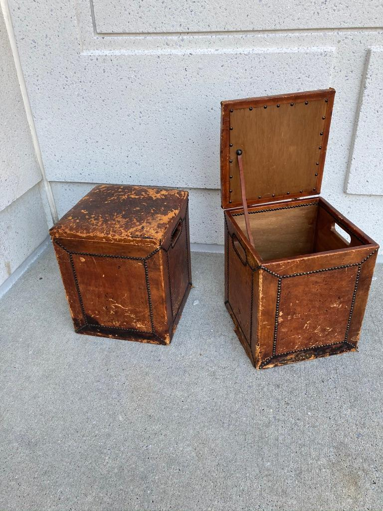 Pair of English Leather-Covered and Nail Studded Stools with Interior Storage For Sale 13