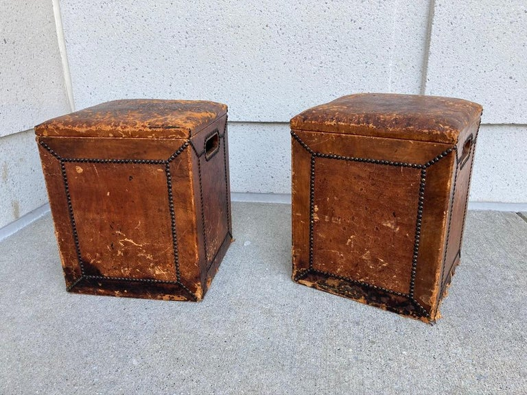 Edwardian Pair of English Leather-Covered and Nail Studded Stools with Interior Storage For Sale