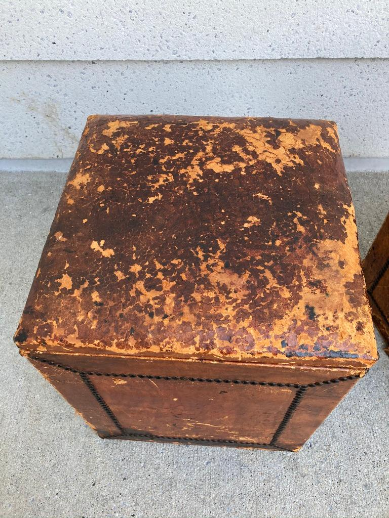 20th Century Pair of English Leather-Covered and Nail Studded Stools with Interior Storage For Sale