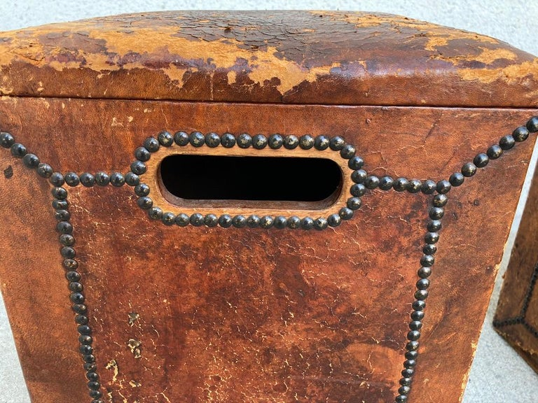 Pair of English Leather-Covered and Nail Studded Stools with Interior Storage For Sale 1