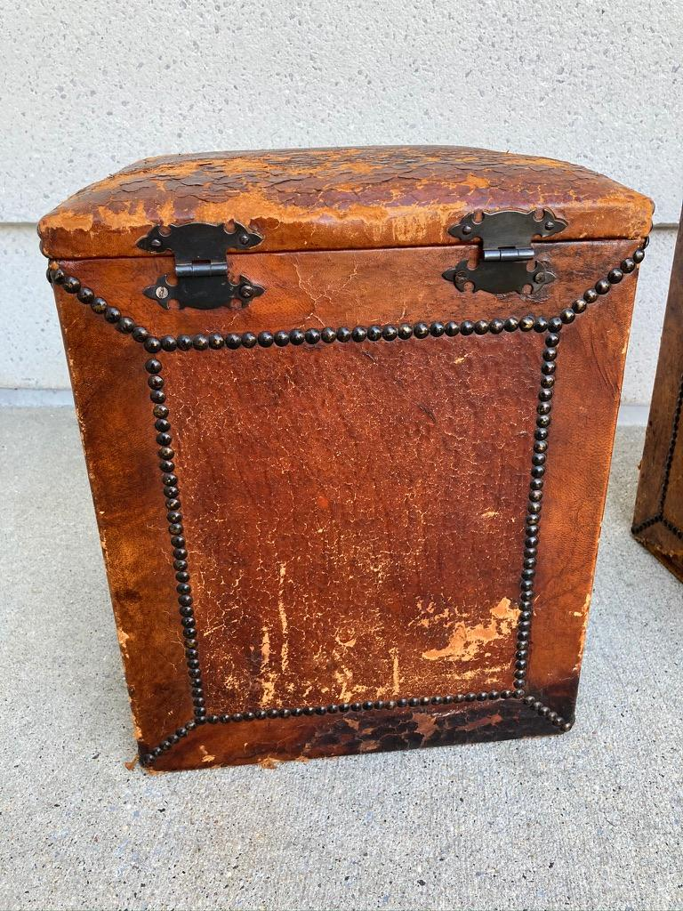 Pair of English Leather-Covered and Nail Studded Stools with Interior Storage For Sale 2
