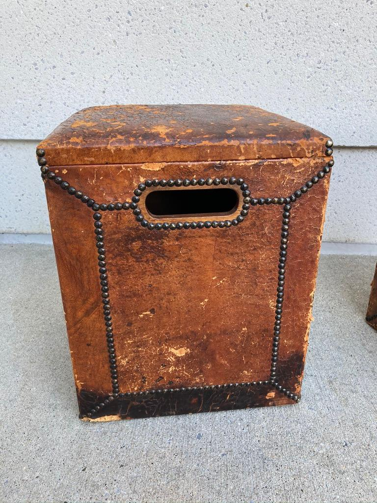Pair of English Leather-Covered and Nail Studded Stools with Interior Storage For Sale 3