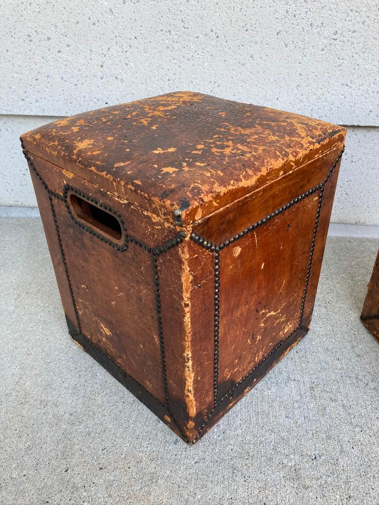 Pair of English Leather-Covered and Nail Studded Stools with Interior Storage For Sale 4