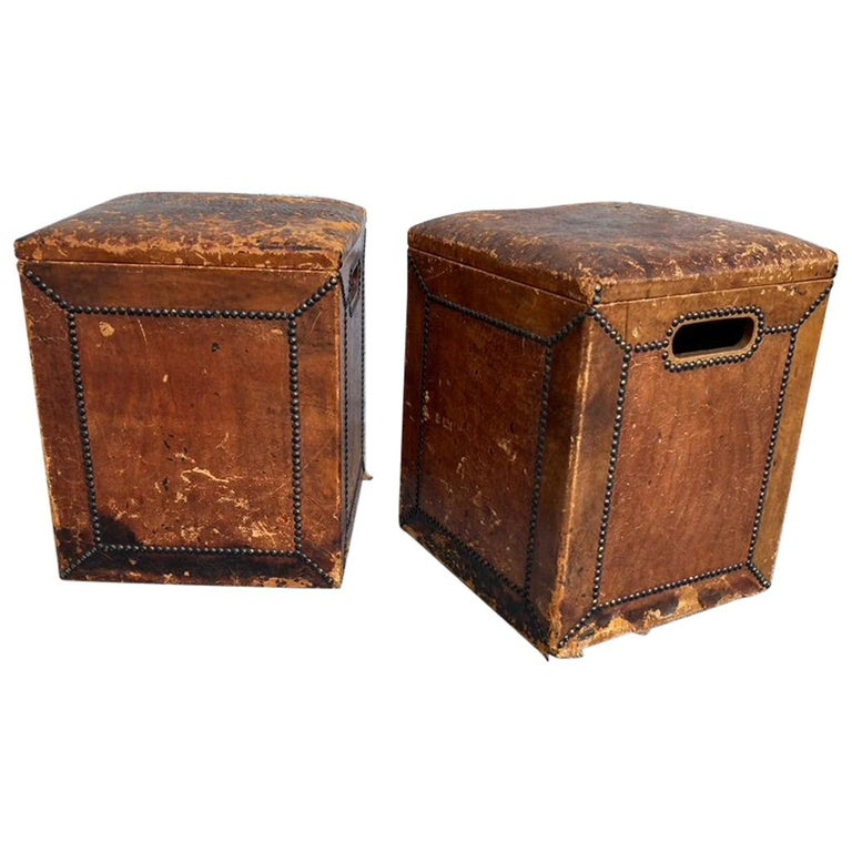 Pair of English Leather-Covered and Nail Studded Stools with Interior Storage For Sale