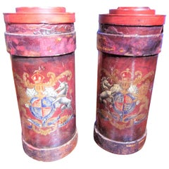 Pair of English Leather Fire Buckets with Painted Crest or Armorial