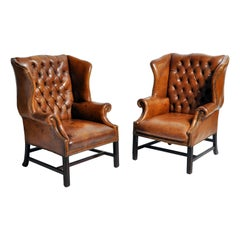 Pair of English Leather Wingback Armchairs