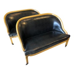 Pair of English Library Fruitwood and Faux Black Leather Loveseats