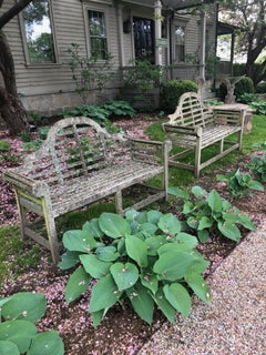 Pair of English Lichen-Encrusted Lutyens-Style Benches in Teak