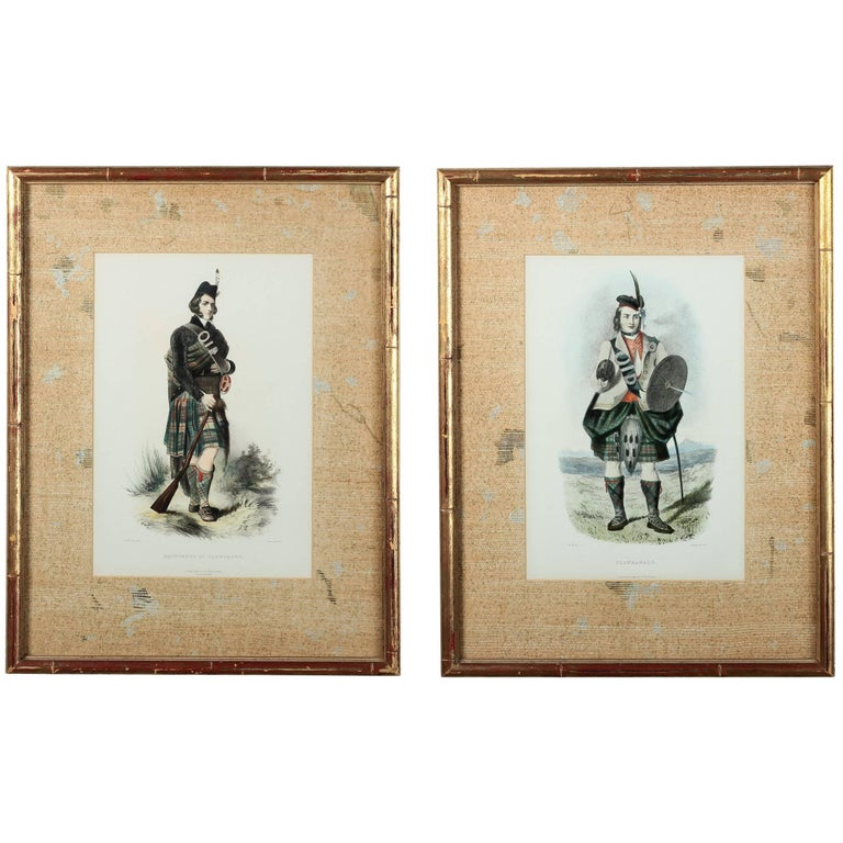 Pair of English Lithograph 'Scottish Clan Portraits' by Artist R.R. Mclan, 1847