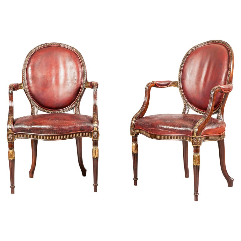 Pair of English Mahogany and Leather Armchairs in the Neoclassical Style For Sale
