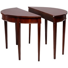 Pair of English Mahogany Demilune Tables