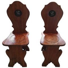 Pair of English Mahogany Hall Chairs with Heraldic Swan Motifs