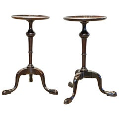 Pair of English Mahogany Queen Anne Style Tripod Kettle or Candle Stands