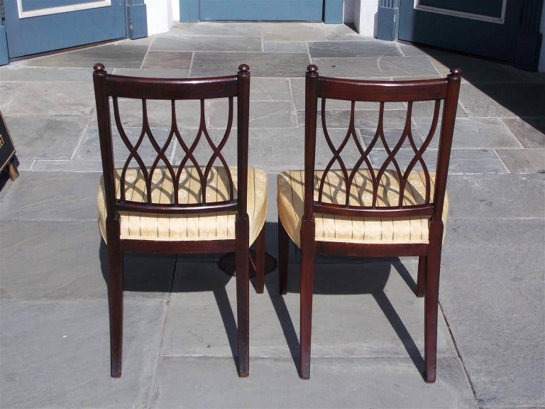 Pair of English Mahogany Sheraton Reeded and Upholstered Side Chairs, Circa 1800 For Sale 2