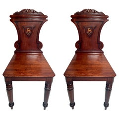 "Pair of English Mahogany Wine Room Chairs ""Virtute non Verbis"""