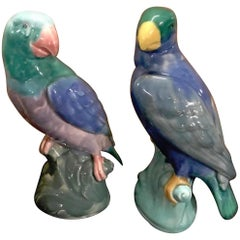 Pair of English Majolica Parrot Figures by Mintons