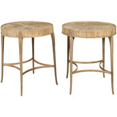 Pair of English Midcentury Bleached Mahogany Side Tables with Circular Tops