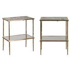 Pair of English Midcentury Brass Side Tables with Chinoiserie Tops and Shelves