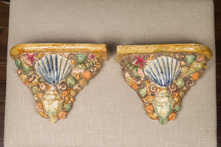 Mid-Century Modern Pair of English Midcentury Majolica Brackets with Seashells and Faux-Bois Decor For Sale