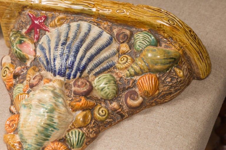 Pair of English Midcentury Majolica Brackets with Seashells and Faux-Bois Decor For Sale 2