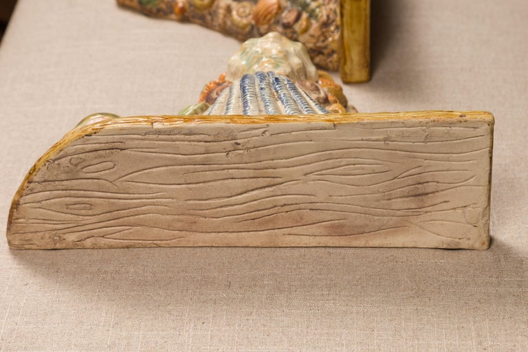 Pair of English Midcentury Majolica Brackets with Seashells and Faux-Bois Decor For Sale 3