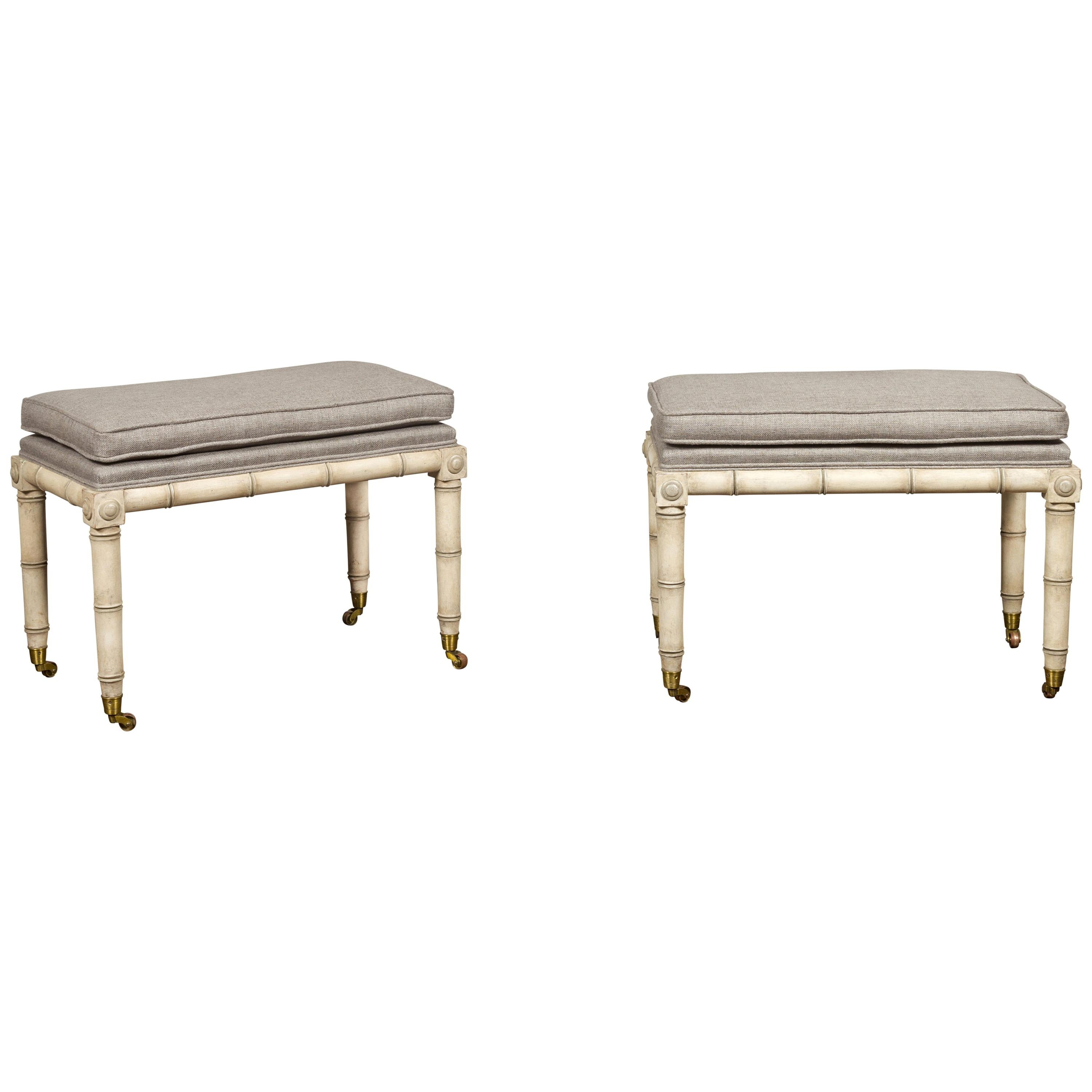 Pair of English Midcentury Painted Faux Bamboo Benches with New Upholstery