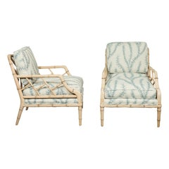 Pair of English Midcentury Walnut Faux Bamboo Lounge Chairs with Upholstery