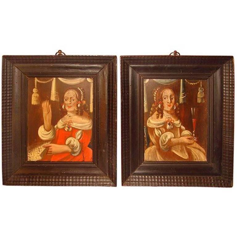 Pair of English Naive Paintings