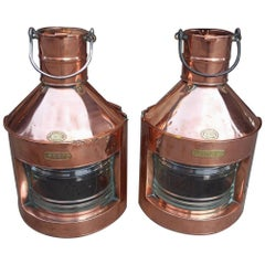 Pair of English Nautical Copper & Brass Ship Lanterns, Griffiths & Sons. C. 1880