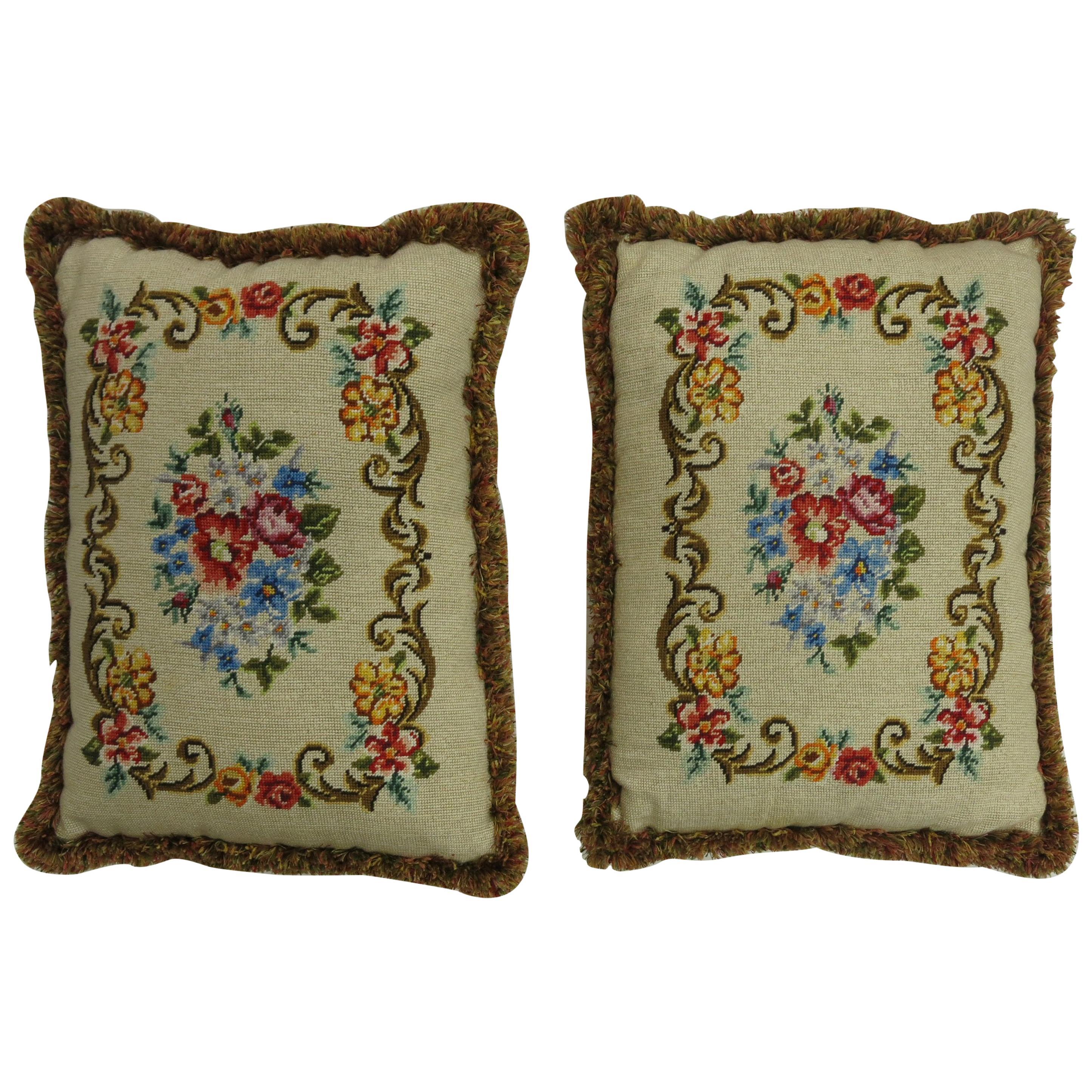 Pair of English Needlepoint Pillows