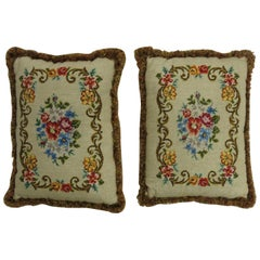 Pair of English Needlepoint Pillows