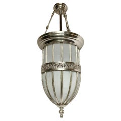 Pair of English Neoclassic Silver Plated Lanterns, Sold Individually