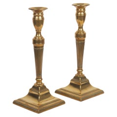 Pair of English Neoclassical Brass Fluted-Stem Candlesticks, Early 19th Century