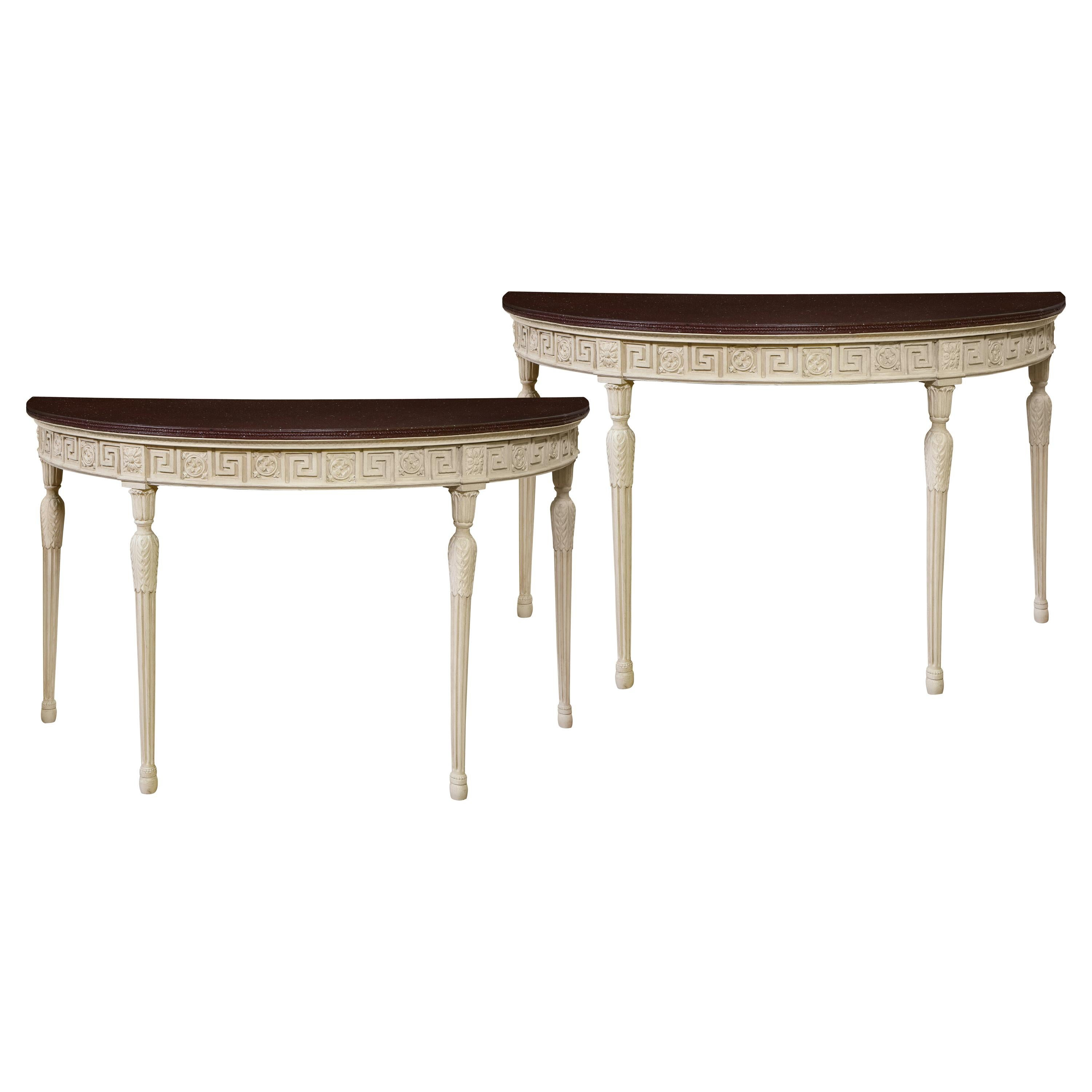 Pair of English Neoclassical Demi-Lune Console Tables