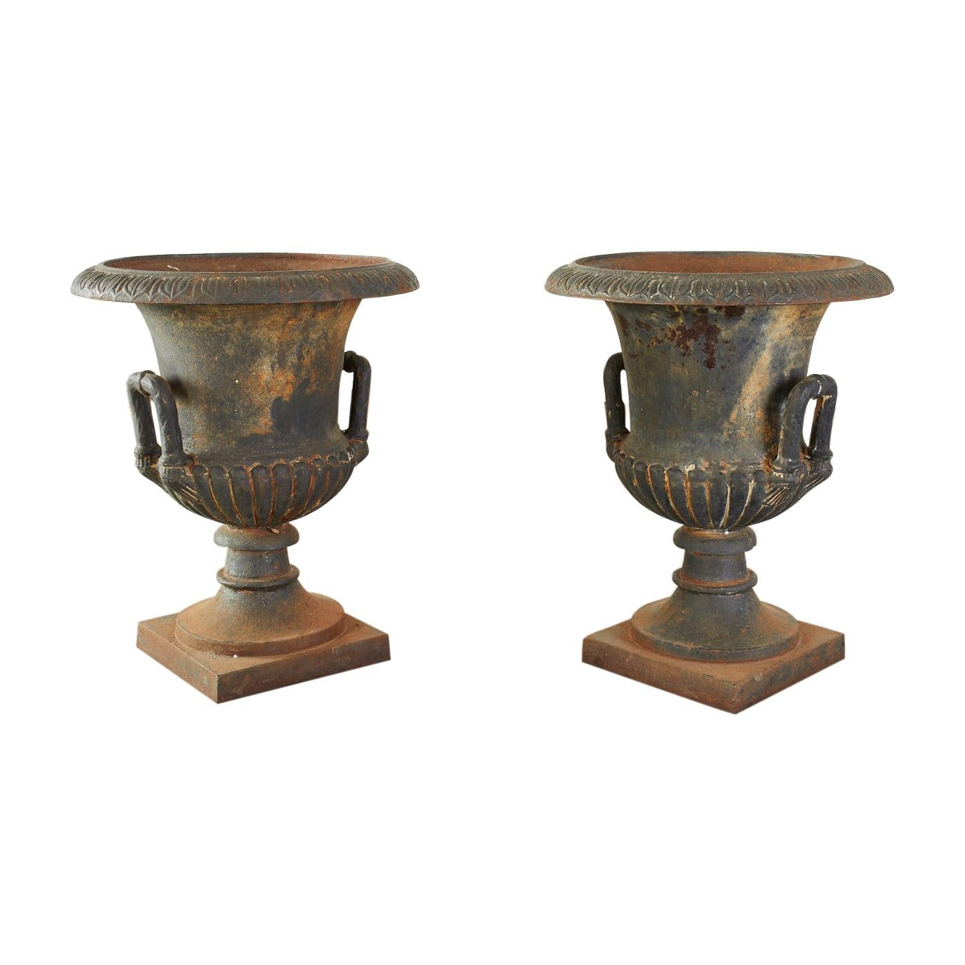 Pair of English Neoclassical Style Cast Iron Garden Urns
