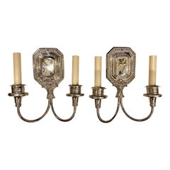 Pair of English Nickel-Plated Sconces