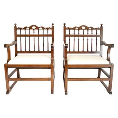 Pair of English North Country 'Drunkards' Arm Chairs, circa 1780
