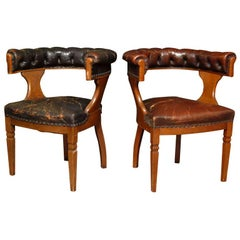 Pair of English Oak and Leather Library Chairs