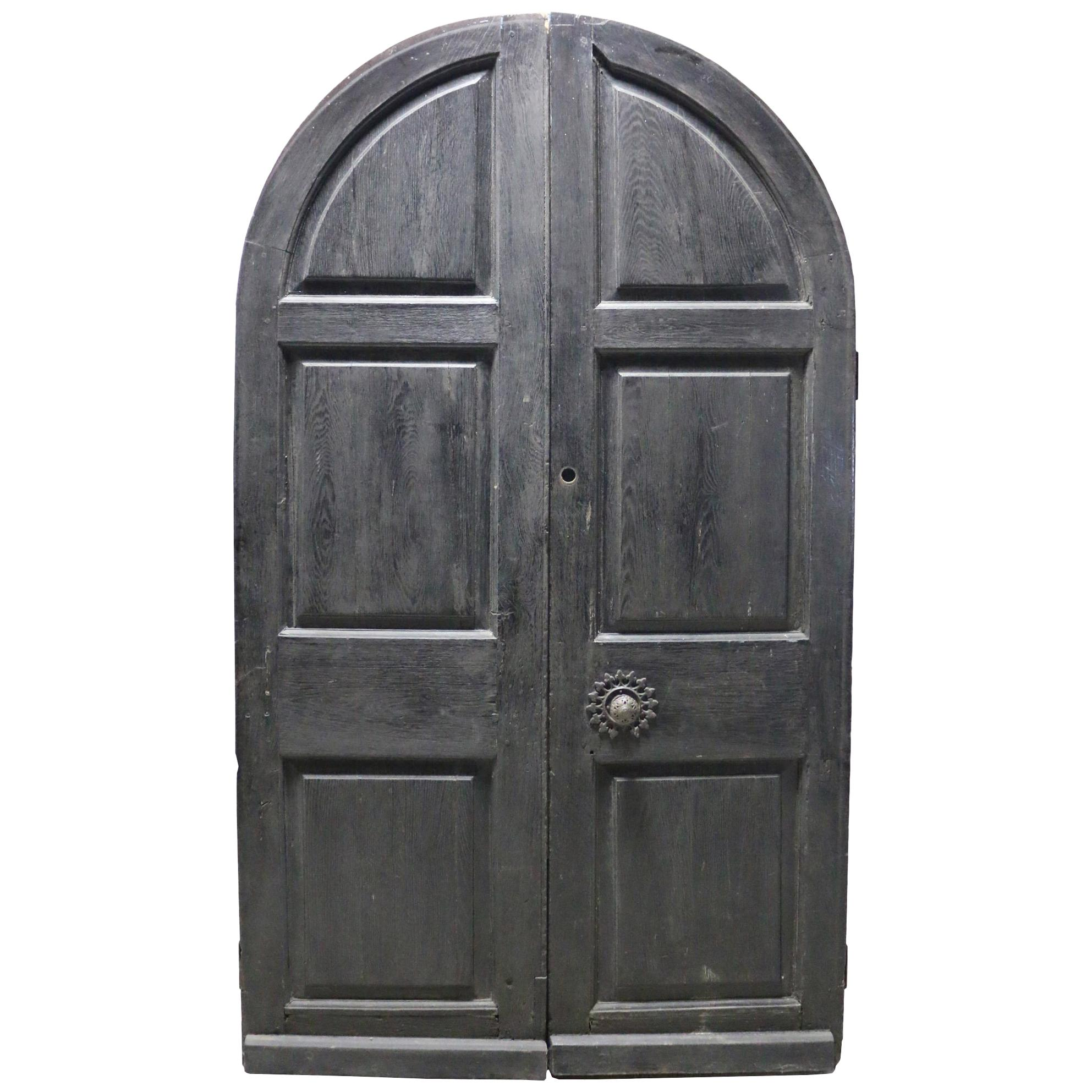 Pair of English Oak Arched Double Exterior Doors
