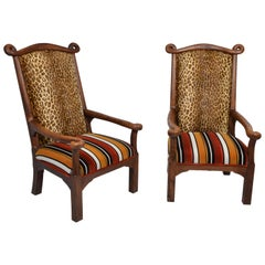Pair of English Oak Armchairs of Royal Proportions, circa 1900