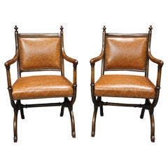 Pair of English Oak Gothic Revival Curule Armchairs after a Design by Pugin