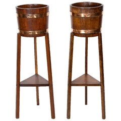 Pair of English Oak Planter Stands