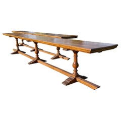 Pair of English Oak Trestle Tables