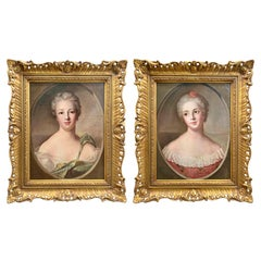 Pair of English Oil Paintings on Canvas, 'Sisters'