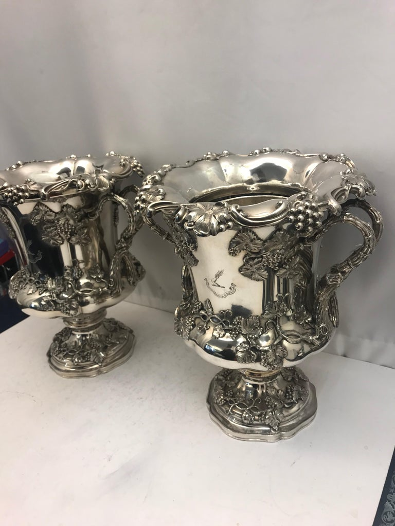 Mid-19th Century Pair of English Old Sheffield Silver Plate Wine Coolers, 1830 For Sale
