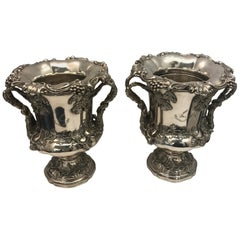 Pair of English Old Sheffield Silver Plate Wine Coolers, 1830