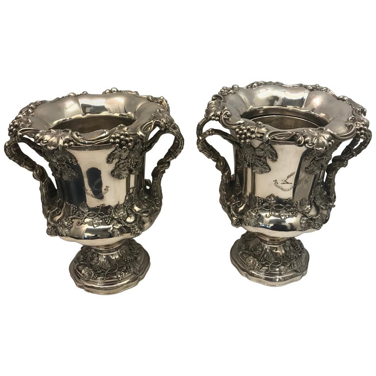 Pair of English Old Sheffield Silver Plate Wine Coolers, 1830 For Sale