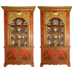 Pair of English Painted and Gold Cabinets in the Chinoiserie Style, 19th Century