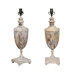 Pair of English Painted and Parcel-Gilt 1900s Urns Made into Wired Table Lamps
