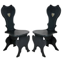 Pair of English Painted Hall Chairs